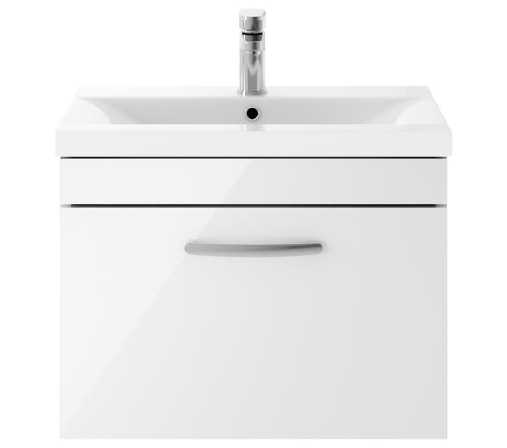 Premier Athena 600mm 1 Drawer Wall Hung Cabinet With Basin 2 Gloss White Finish