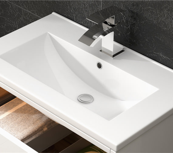 Alternate image of Premier Athena 600mm 1 Drawer Wall Hung Cabinet With Basin 2 Gloss White Finish