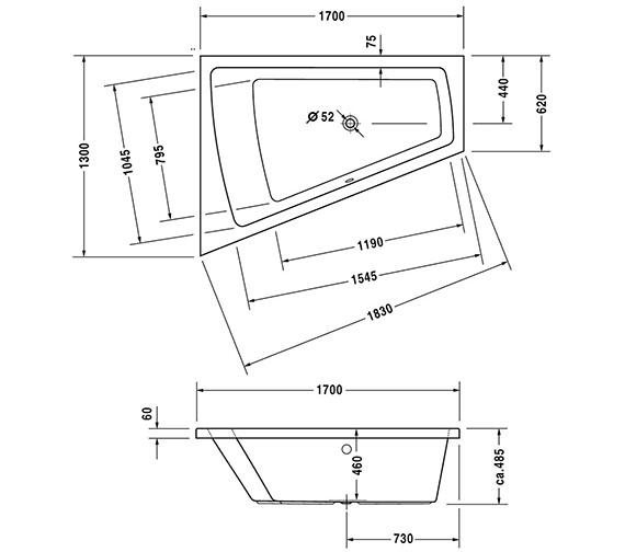 Additional image of Duravit Paiova 1700 x 1300mm Right-Left Backrest Slope Bath