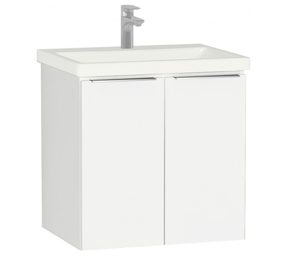 VitrA Ecora 600mm White Wall Mounted 2 Door Unit With Washbasin Gloss White