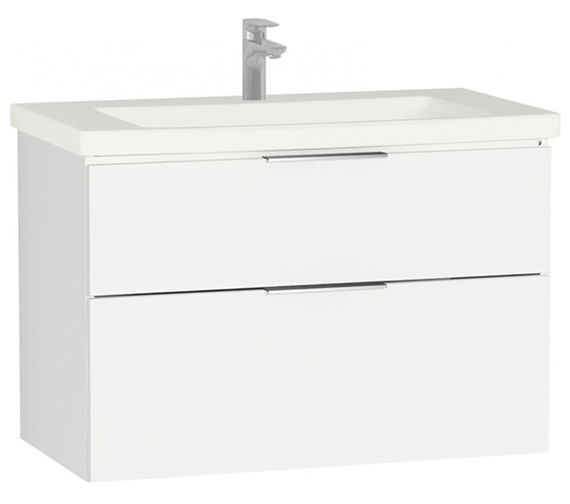 VitrA Ecora 900 x 500mm Compact White Vanity Unit And Basin Gloss White