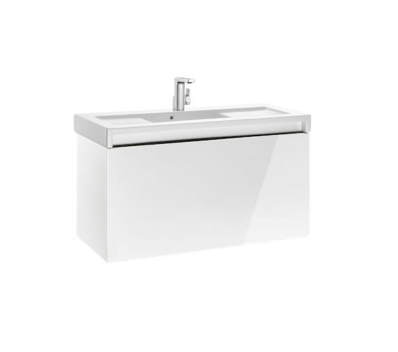 Roca Stratum-N 855 x 503mm 1 Drawer Wall Hung Base Unit Gloss White - Textured Yosemite Finishes Available