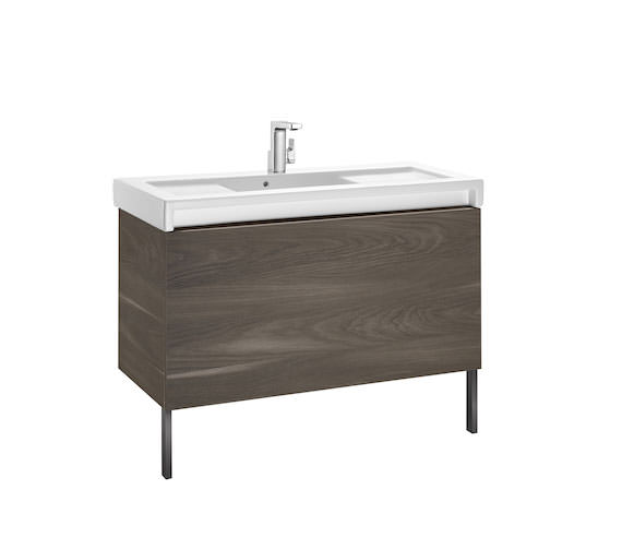 Additional image of Roca Stratum-N 855 x 503mm 1 Drawer Wall Hung Base Unit Gloss White - Textured Yosemite Finishes Available