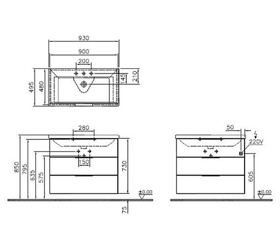Technical drawing QS-V90567 / 60306