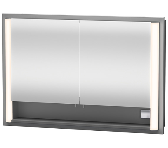 Duravit Aluminium White 800mm Built-In Mirror Cabinet