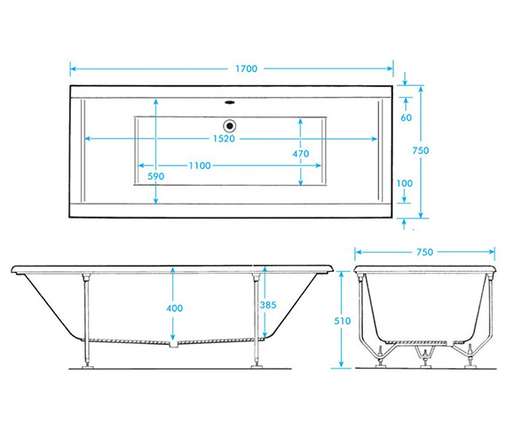 Additional image of Trojan Elite 1700mm Double Ended Bath