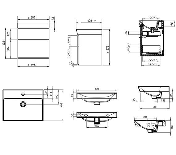 Technical drawing QS-V4831 / SCH500D.GW