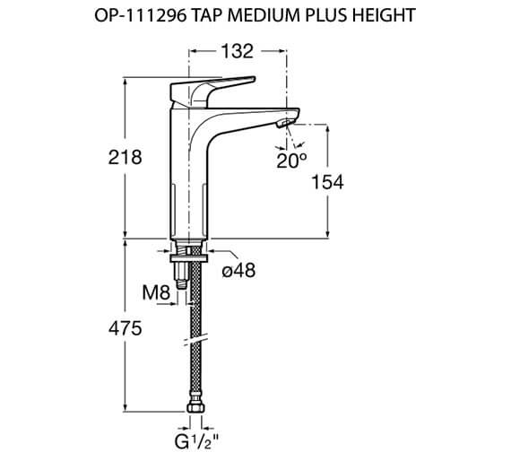 Additional image of Roca Atlas Medium-Height Basin Mixer Tap With Smooth Body - Cold Start
