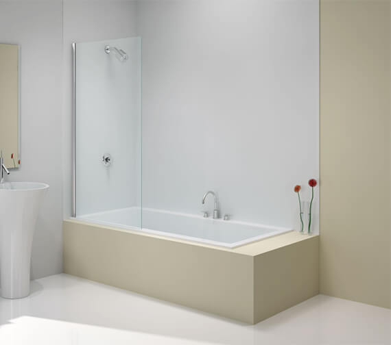 Merlyn Ionic 6mm Glass Fixed Square Bath Screen 800 x 1500mm