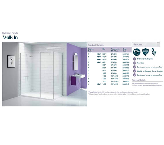 Additional image of Merlyn Ionic Showerwall Glass Panel - Available With Choice Of Many Combinations