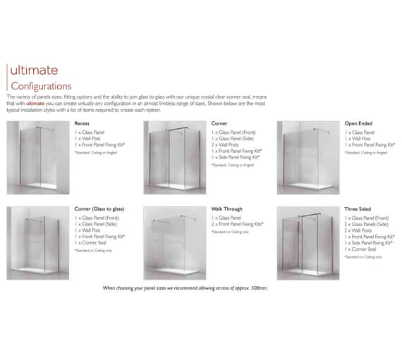 Alternate image of Kudos Ultimate 1952mm High Flat 10mm Glass Shower Panel