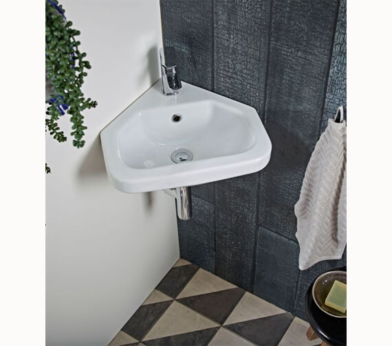 Tavistock Niche Wall Hung Compact Corner Basin 405mm Wide With 1 Tap Hole
