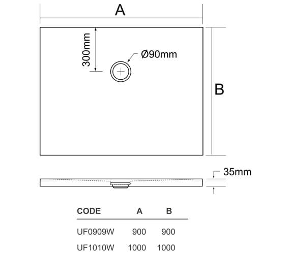 Technical drawing QS-V95407 / UF0909W