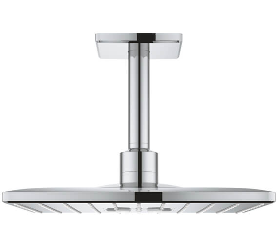 Grohe Rainshower 310mm SmartActive Cube Shower Head With 142mm Ceiling Arm