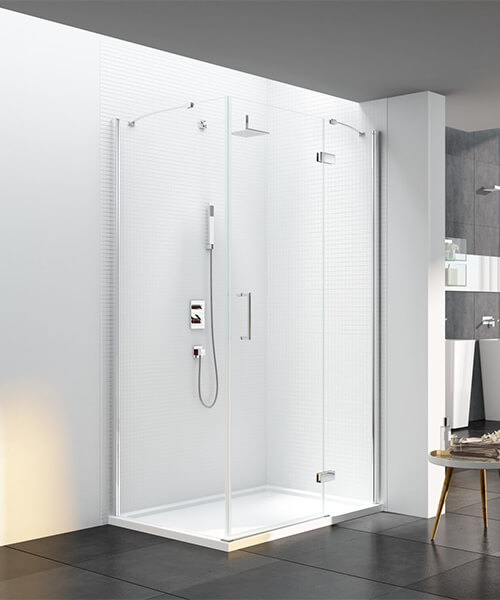 Merlyn 6 Series Frame-less Plus Sizes Hinged Shower Door For Use With Side Panel