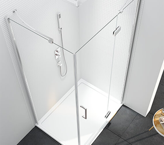 Additional image of Merlyn 6 Series Frame-less Plus Sizes Hinged Shower Door For Use With Side Panel