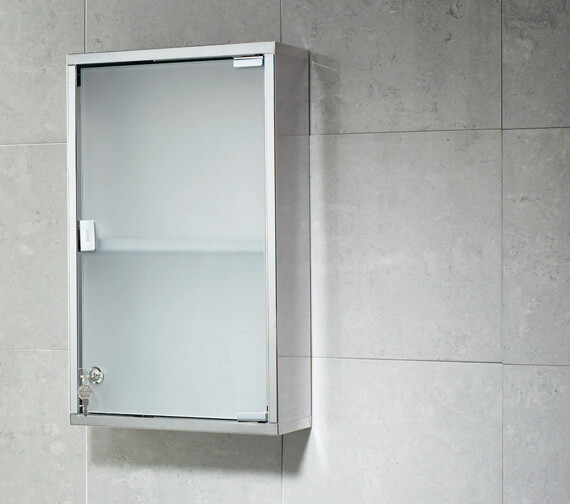 Bathroom Origins Rectangular Medicine Cabinet With Polished And Frosted Glass Door