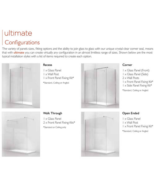 Alternate image of Kudos Ultimate 1952mm High Curved 8mm Glass Shower Panel
