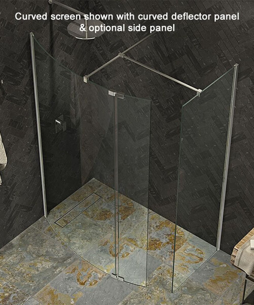 Kudos Ultimate 1952mm High Curved Glass Shower Panel