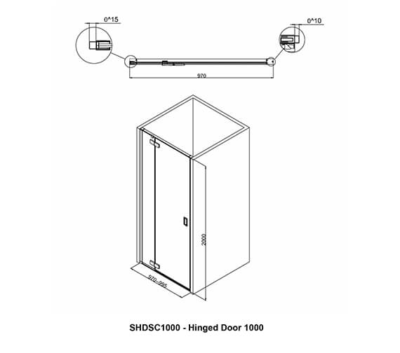 Additional image of Crosswater Svelte Hinged Shower Door 800mm