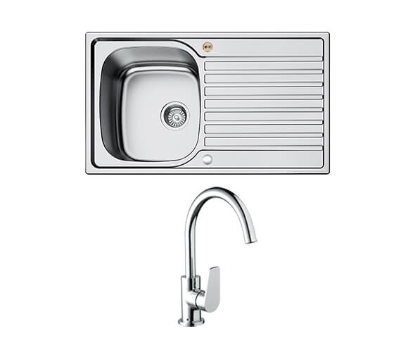 Bristan Inox 1.0 Easyfit Kitchen Sink With Raspberry Tap - SK INXRD1 SU RSP