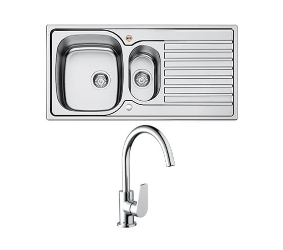 Bristan Inox 1.5 Easyfit Kitchen Sink With Raspberry Tap - SK INXRD1.5 SU RSP