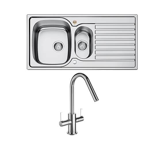 Bristan Inox 1.5 Easyfit Kitchen Sink With Cashew Tap - SK INXRD1.5 SU CSH