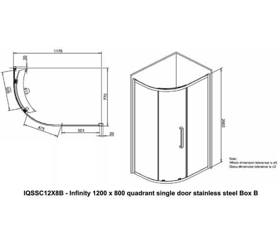 Additional image of Crosswater Infinity Single Door Quadrant Enclosure 900 x 900mm