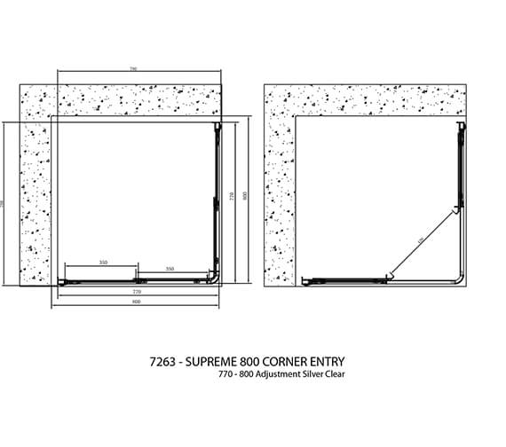 Additional image of Crosswater Supreme Corner Entry Shower Enclosure 760mm