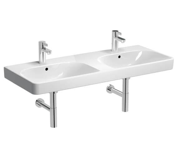 Geberit Smyle Square 1200 x 480mm Double Washbasin White