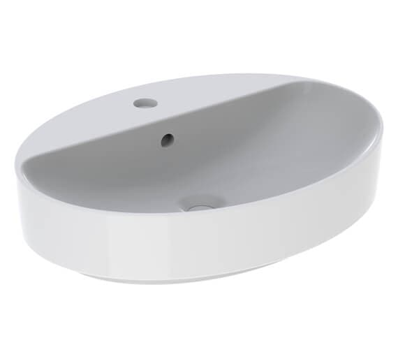 Geberit VariForm 600 x 450mm Oval Lay-On Basin With Taphole Bench