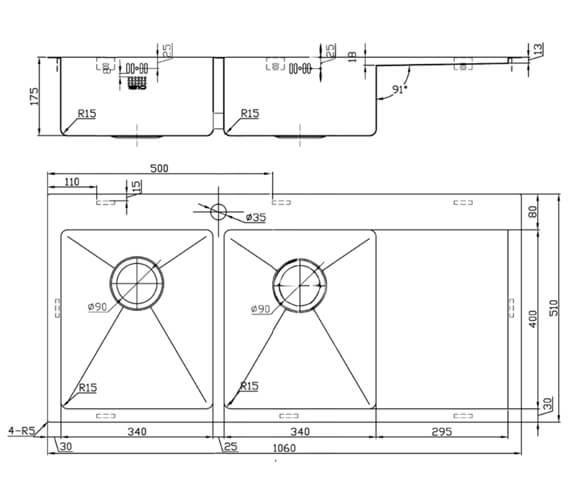 Technical drawing QS-V95404 / ZD/3434/IF/U15/S/BBL/158
