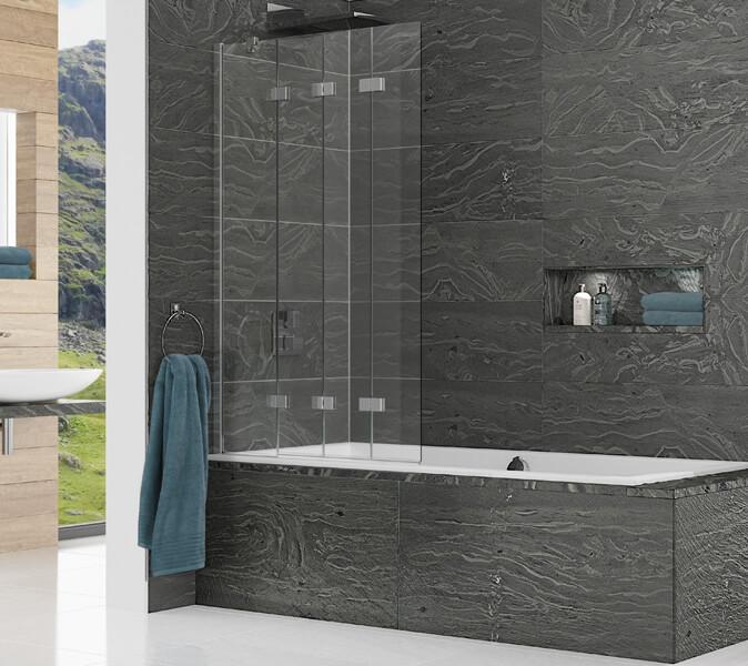 Kudos Inspire 950 x 1500mm Compact 4 Panel In-Fold Bath Screen