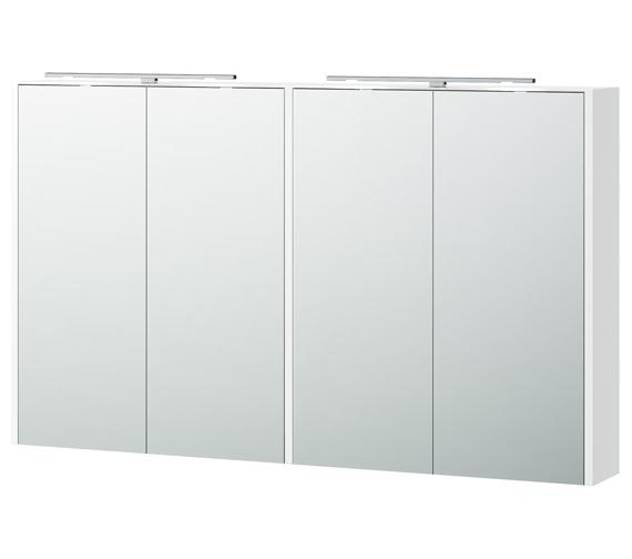 Miller London 120 White 1180 x 700mm Four Door Mirror Cabinet