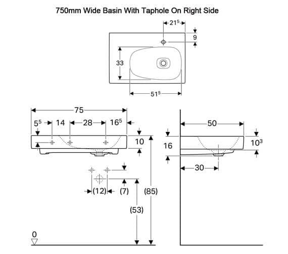 Additional image of Geberit Citterio Single Taphole Washbasin With Shelf Surface