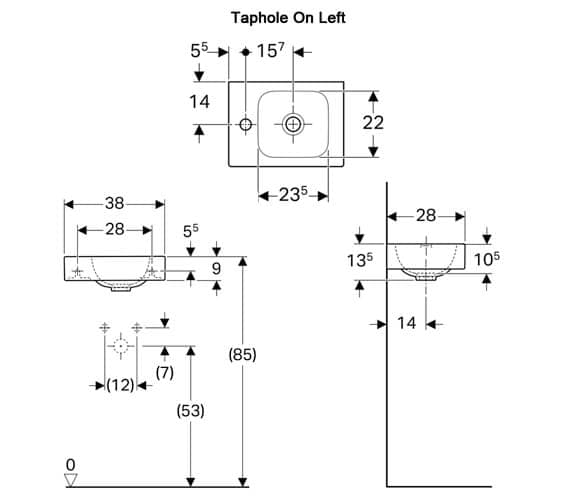 Additional image of Geberit Icon 380 x 280mm 1 Taphole Handrinse Basin