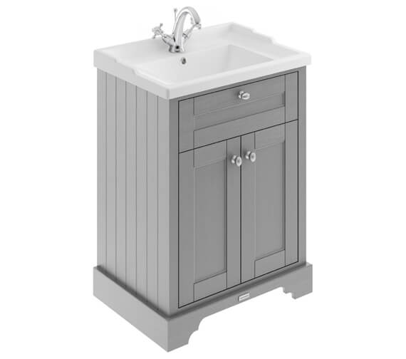 Old London 600mm Storm Grey 2 Door Unit With 1 Taphole Basin