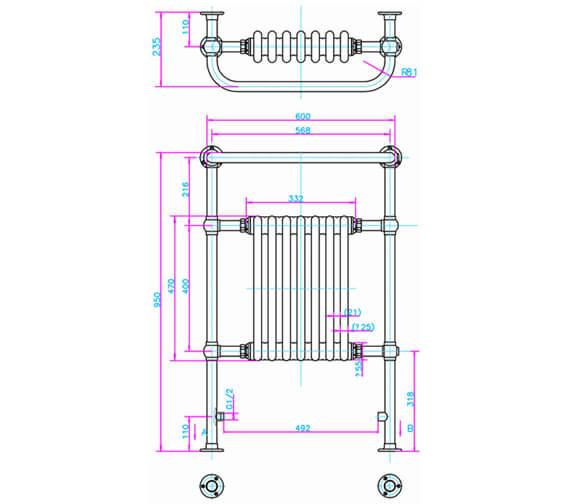 Technical drawing QS-V94150 / ARCR1 CHR