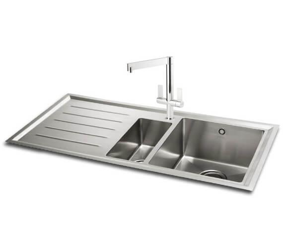 Carron Phoenix Vela 150 Left Hand 1.5 Bowl Inset Kitchen Sink