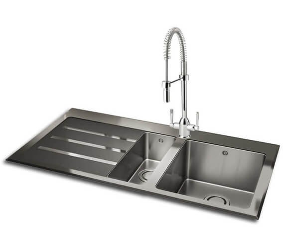 Carron Phoenix Silhouette 150 Black Glass 1.5 Bowl Left Hand Inset Sink