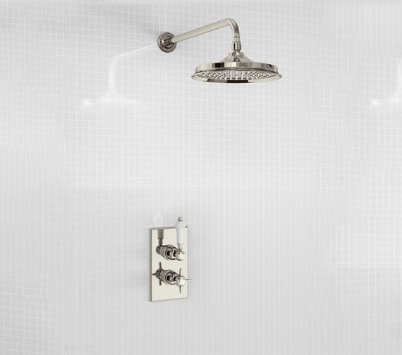 Additional image of Burlington Arcade Trent Concealed Thermostatic Shower Valve With Rail 9 Inch Shower Rose
