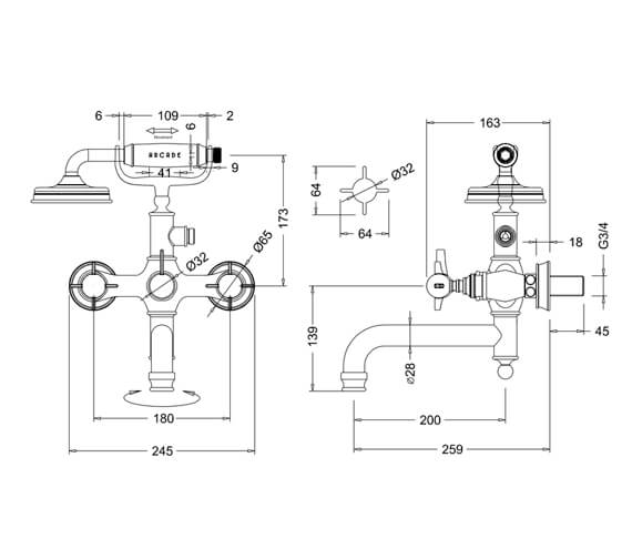 Technical drawing QS-V9391 / ARC19 CHR