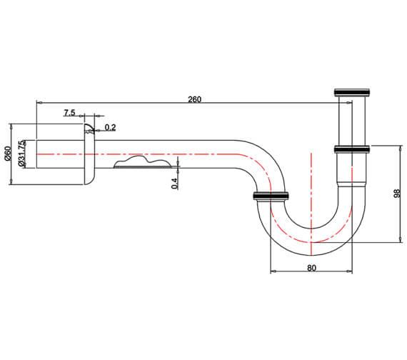 Technical drawing QS-V95490 / ARCW27 CHR