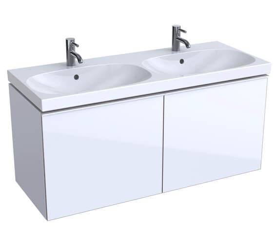 Geberit Acanto 1200 x 482mm Two Drawer Vanity Unit And Double Basin