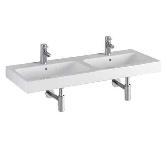 Geberit Icon 1200 x 485mm 2 Taphole Double Washbasin