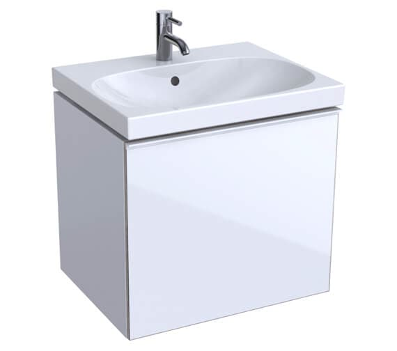 Geberit Acanto 535mm High Compact 1 Drawer And 1 Internal Drawer Vanity Unit