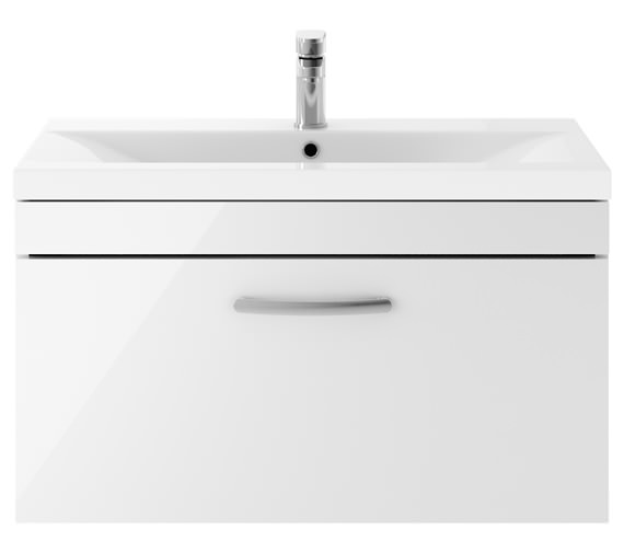 Premier Athena 800mm 1 Drawer Wall Hung Cabinet With Basin 2 Gloss White Finish