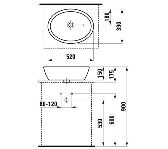 Additional image of Laufen Pro B 420mm Round Washbasin Bowl - 520mm Size Available