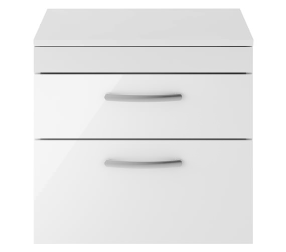 Premier Athena 600mm 2 Drawer Wall Hung Cabinet With Worktop Gloss White Finish