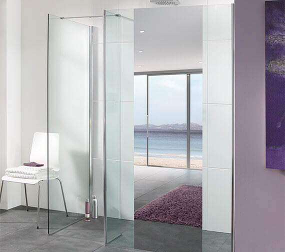 Lakes Mirror Glass Palma Walk-In Shower Panel 800mm
